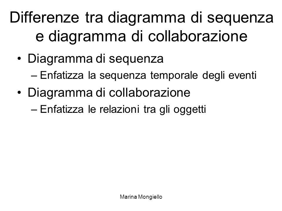 Differenze tra diagramma di sequenza e diagramma di collaborazione
