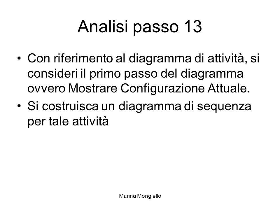 Analisi passo 13 Con riferimento al diagramma di attività, si consideri il primo passo del diagramma ovvero Mostrare Configurazione Attuale.