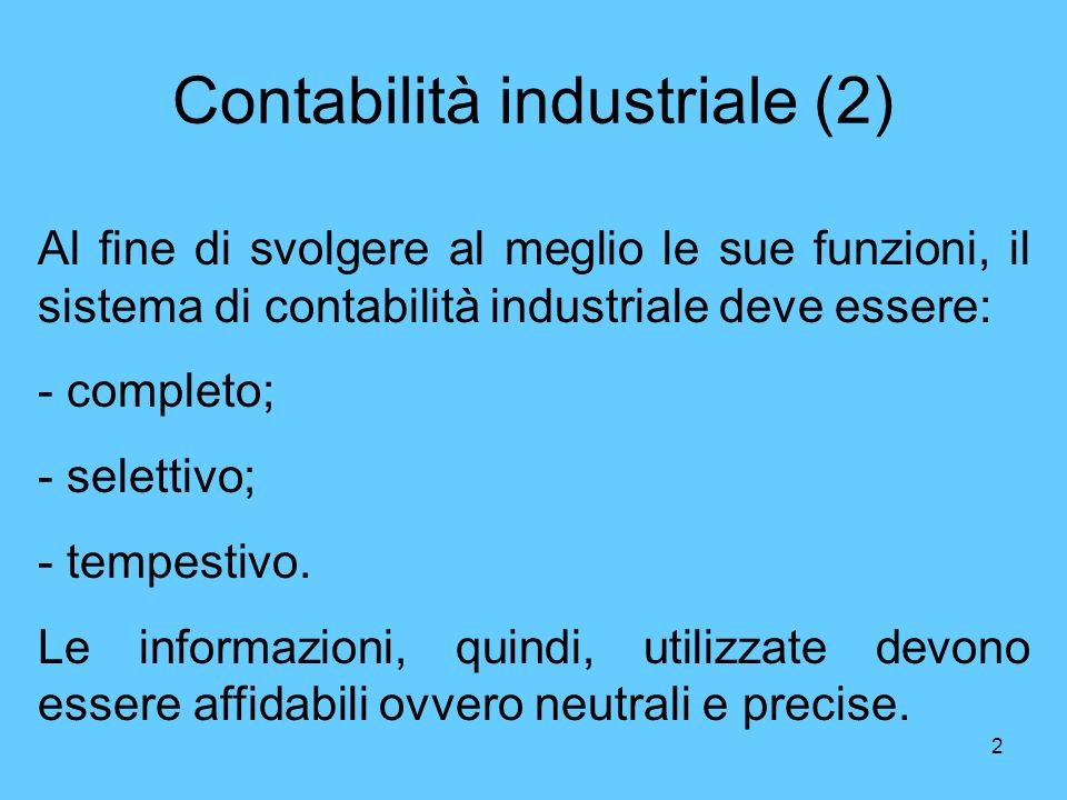 Contabilità industriale (2)