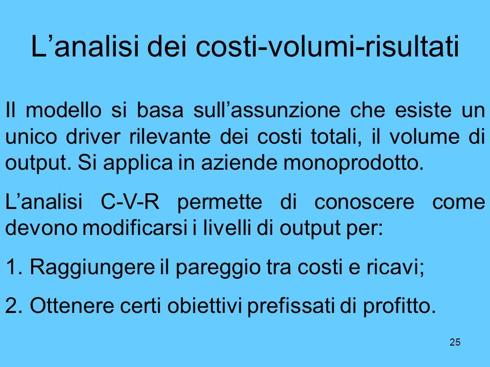 L'analisi dei costi-volumi-risultati