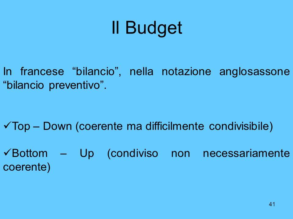 Il Budget In francese bilancio , nella notazione anglosassone bilancio preventivo . Top – Down (coerente ma difficilmente condivisibile)