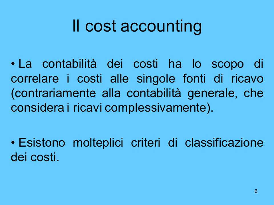 Il cost accounting