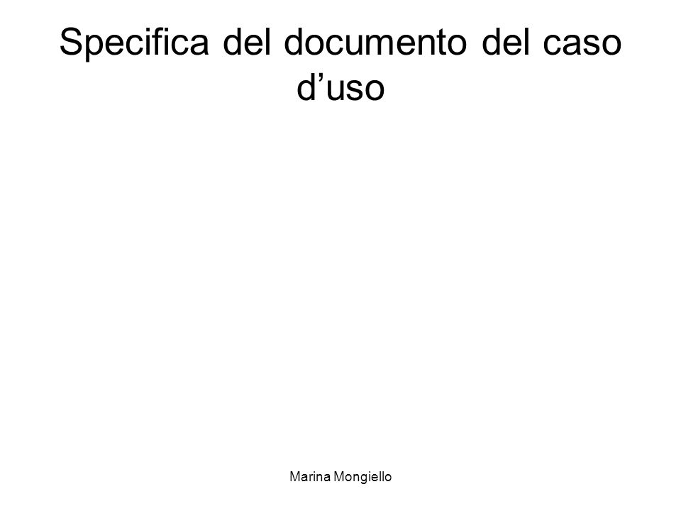 Specifica del documento del caso d'uso