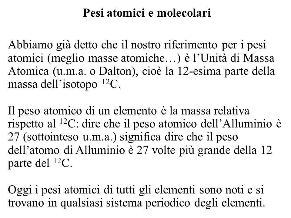 Pesi atomici e molecolari
