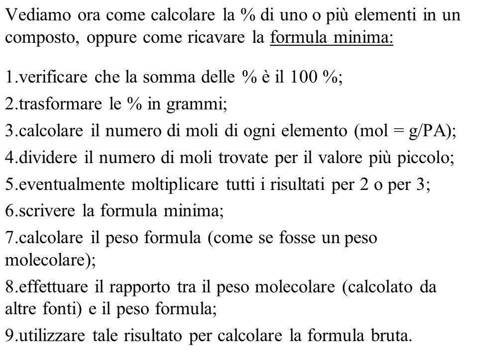 Vediamo ora come calcolare la % di uno o più elementi in un composto, oppure come ricavare la formula minima: