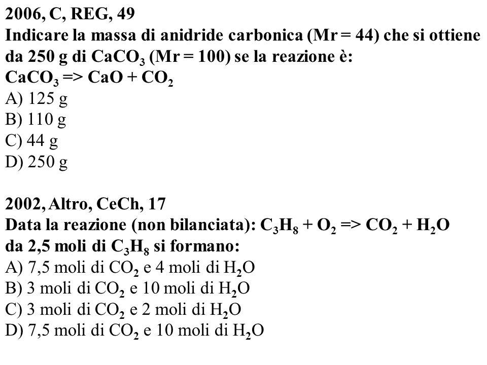 2006, C, REG, 49 Indicare la massa di anidride carbonica (Mr = 44) che si ottiene da 250 g di CaCO3 (Mr = 100) se la reazione è: