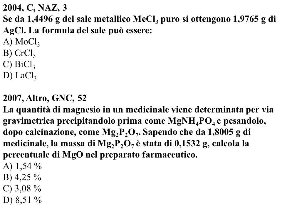 2004, C, NAZ, 3 Se da 1,4496 g del sale metallico MeCl3 puro si ottengono 1,9765 g di AgCl. La formula del sale può essere: