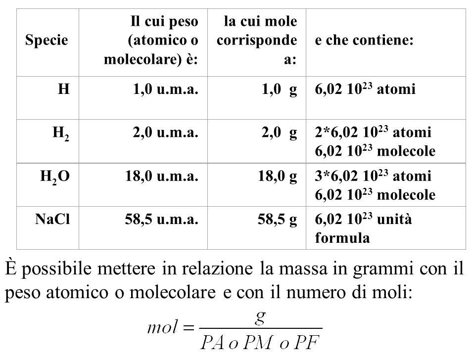Specie Il cui peso (atomico o molecolare) è: la cui mole corrisponde a: e che contiene: H. 1,0 u.m.a.