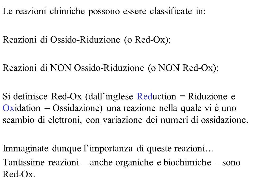 Le reazioni chimiche possono essere classificate in: