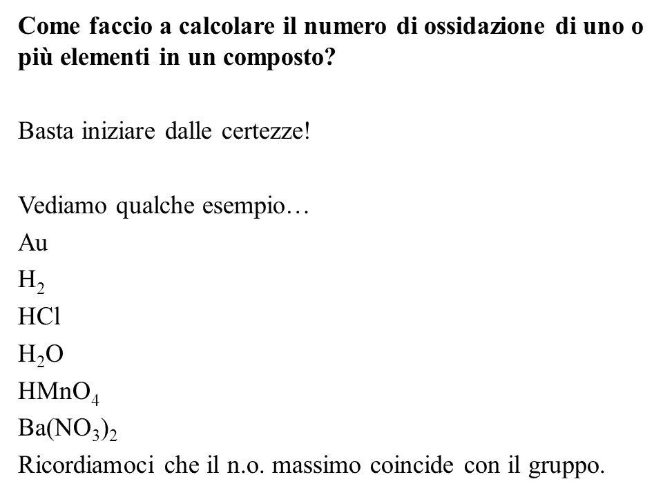 Come faccio a calcolare il numero di ossidazione di uno o più elementi in un composto