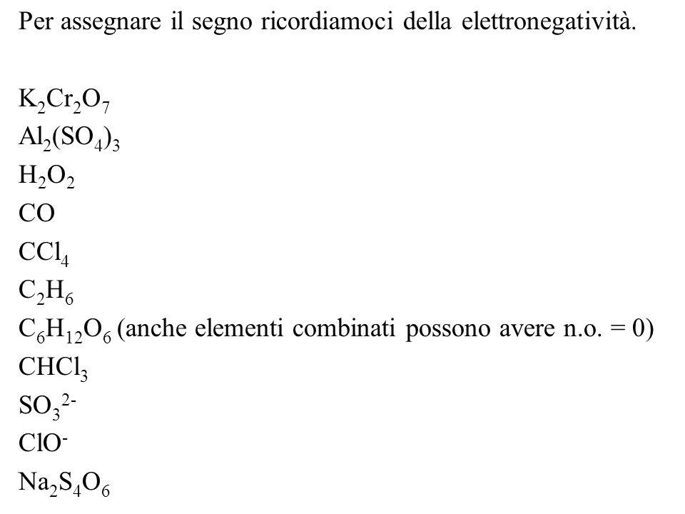 Per assegnare il segno ricordiamoci della elettronegatività.