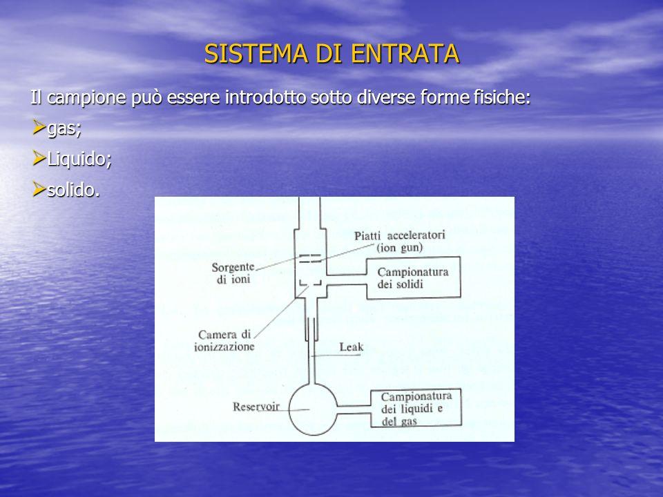 SISTEMA DI ENTRATA Il campione può essere introdotto sotto diverse forme fisiche: gas; Liquido; solido.