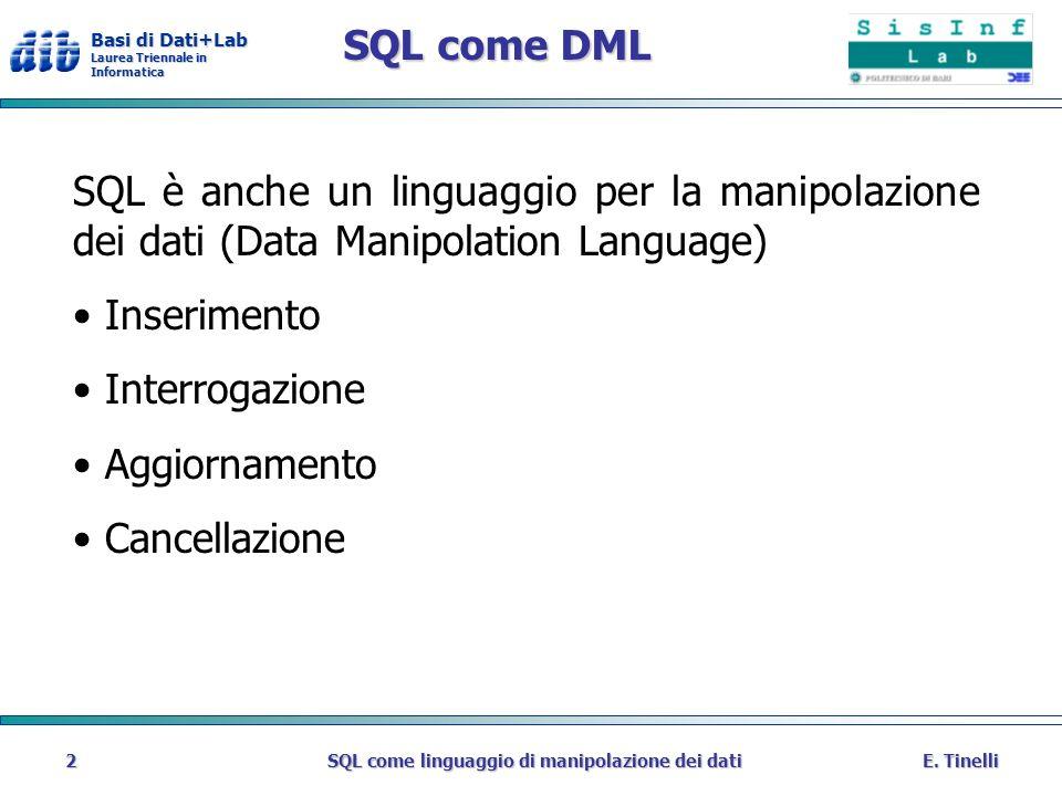 SQL come linguaggio di manipolazione dei dati
