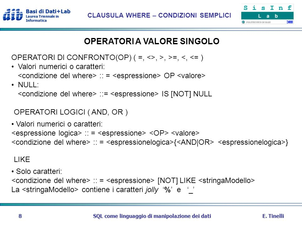 OPERATORI A VALORE SINGOLO
