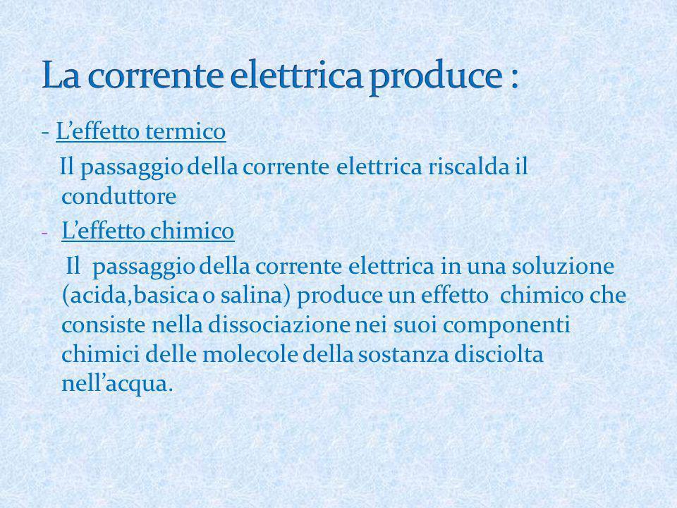 La corrente elettrica produce :