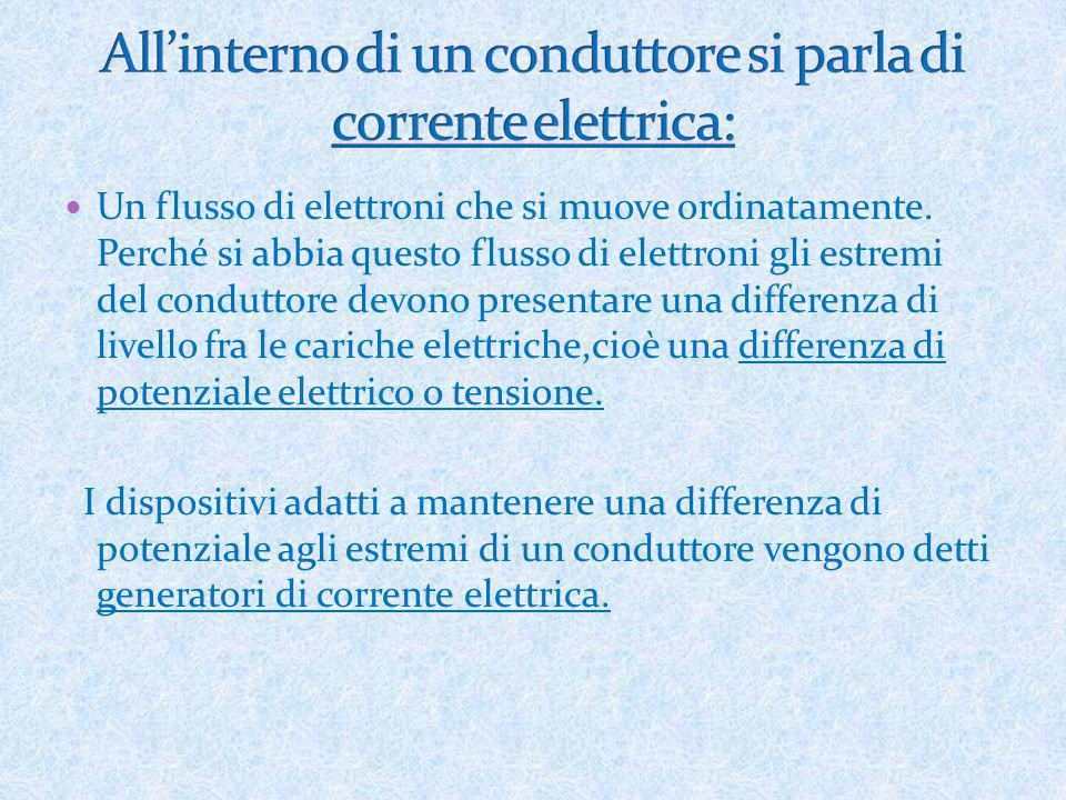 All'interno di un conduttore si parla di corrente elettrica: