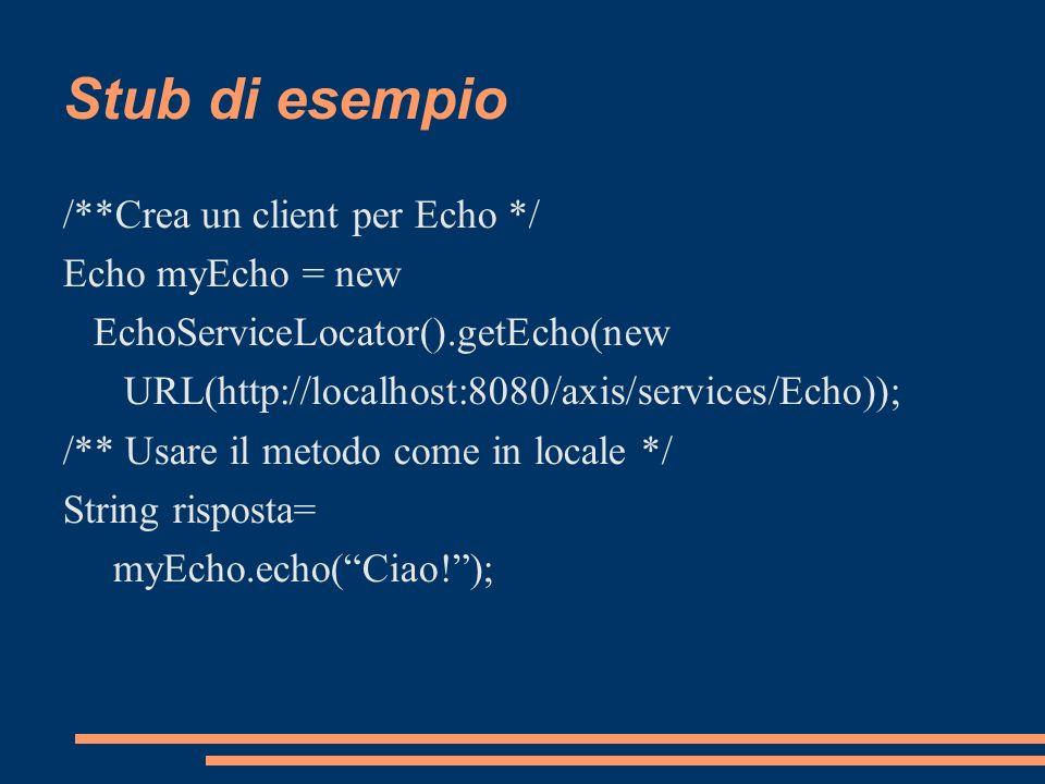 Stub di esempio /**Crea un client per Echo */ Echo myEcho = new
