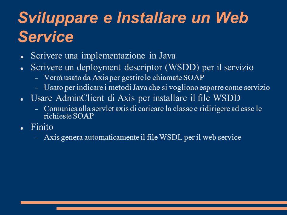 Sviluppare e Installare un Web Service