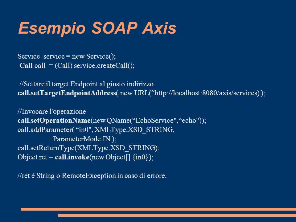 Esempio SOAP Axis Service service = new Service();