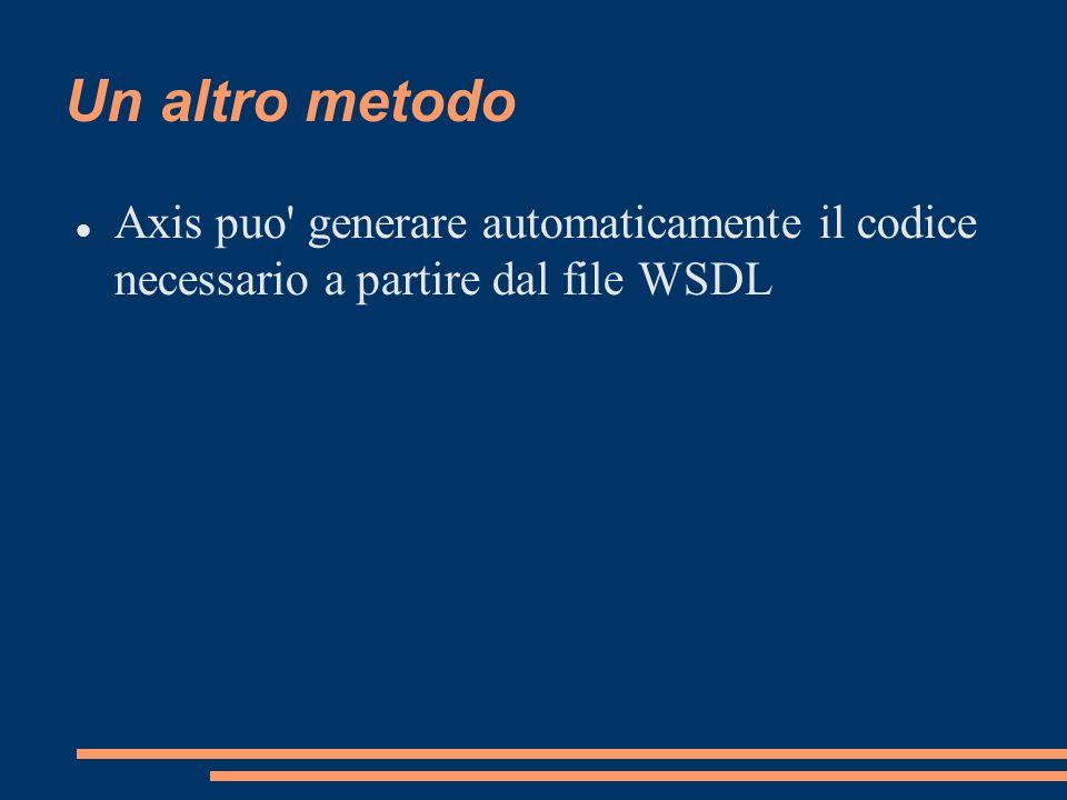 Un altro metodo Axis puo generare automaticamente il codice necessario a partire dal file WSDL