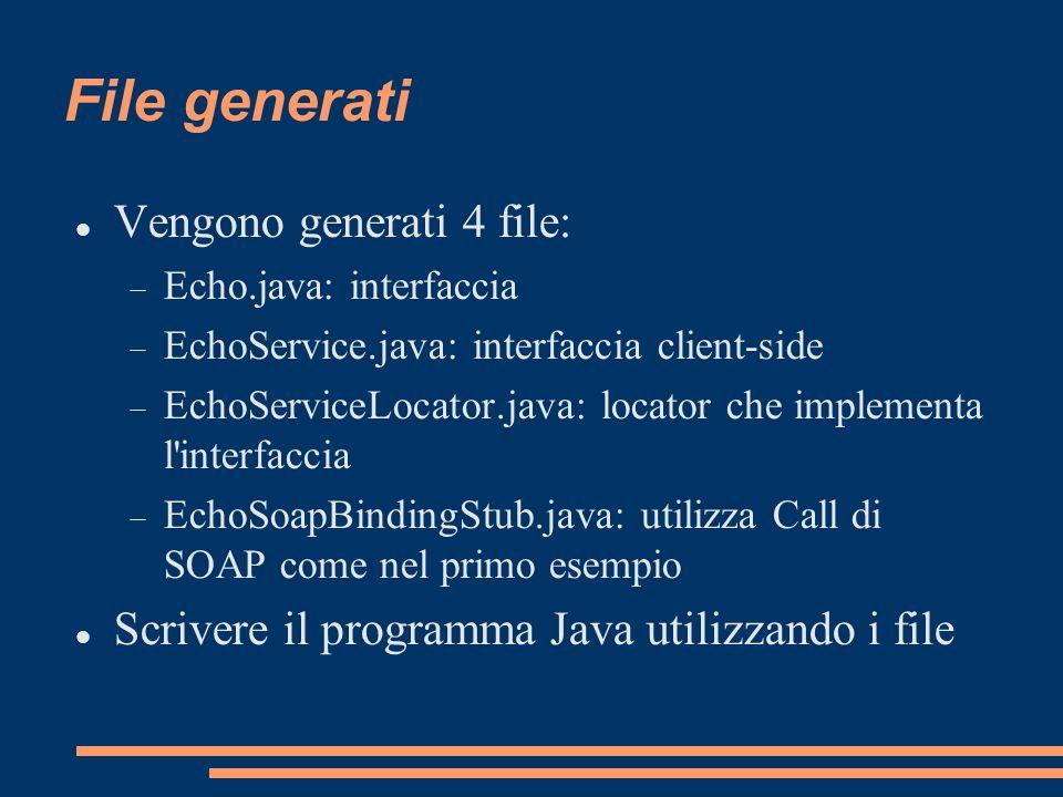 File generati Vengono generati 4 file: