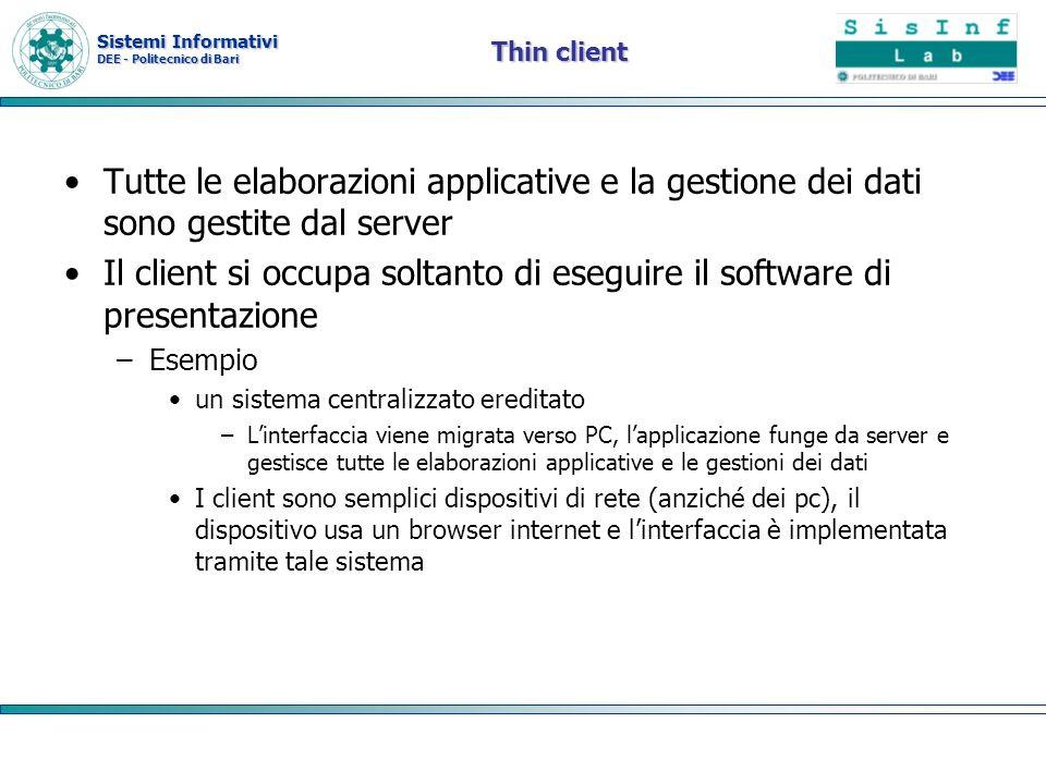 Il client si occupa soltanto di eseguire il software di presentazione