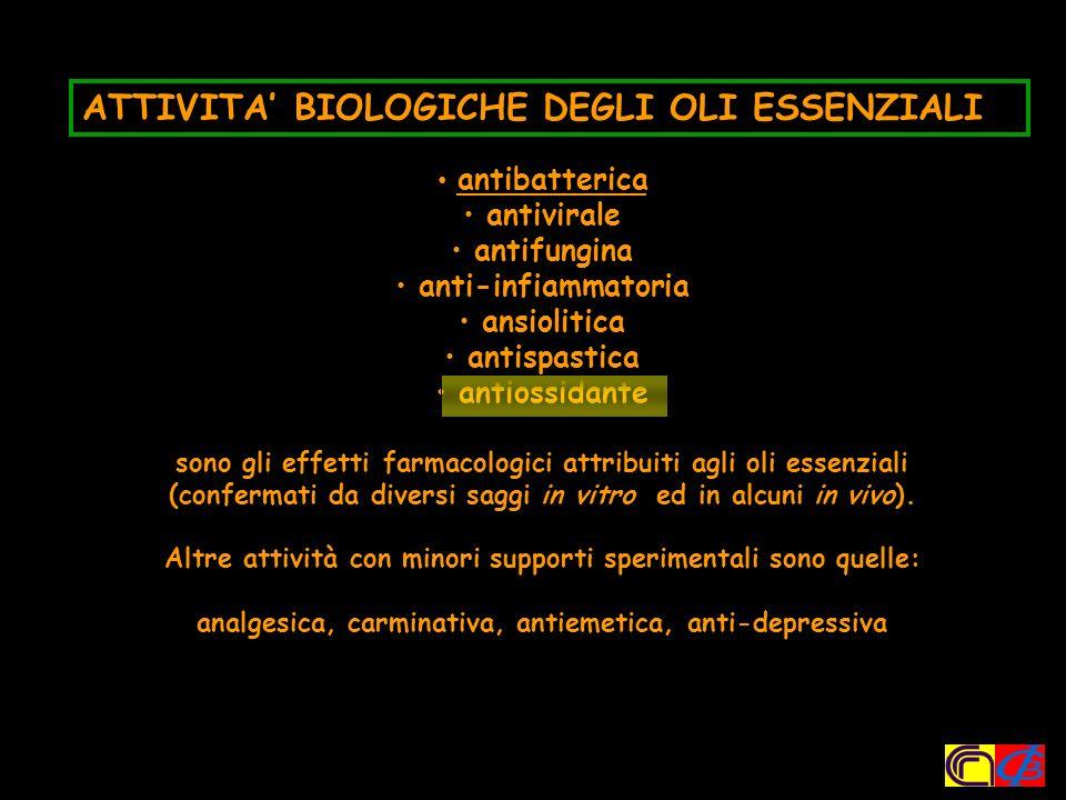 ATTIVITA' BIOLOGICHE DEGLI OLI ESSENZIALI