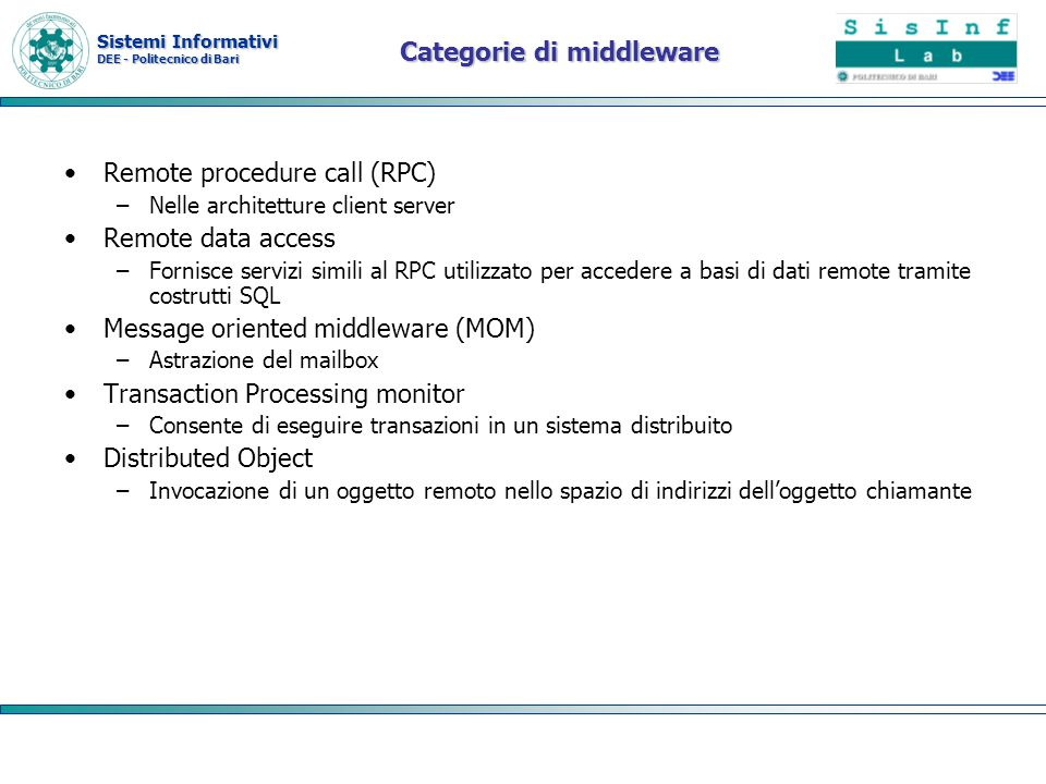Categorie di middleware