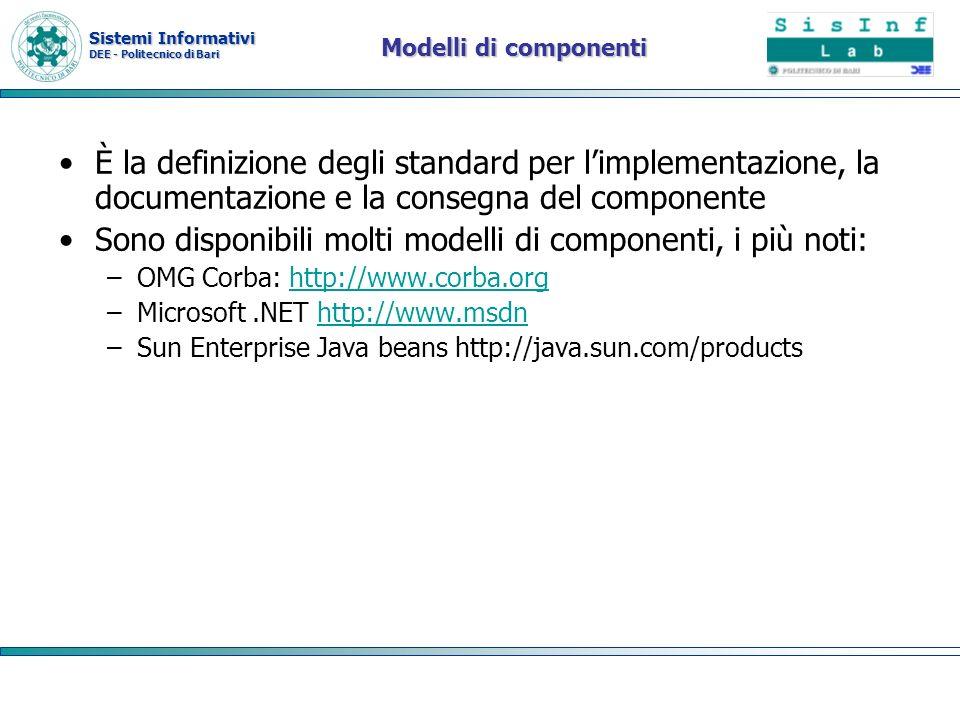 Sono disponibili molti modelli di componenti, i più noti: