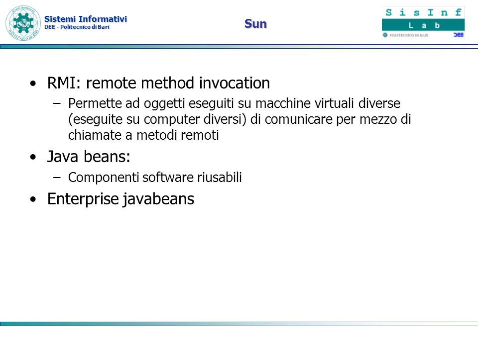 RMI: remote method invocation