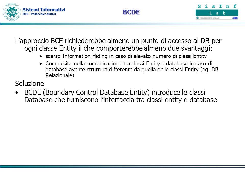 BCDE L'approccio BCE richiederebbe almeno un punto di accesso al DB per ogni classe Entity il che comporterebbe almeno due svantaggi: