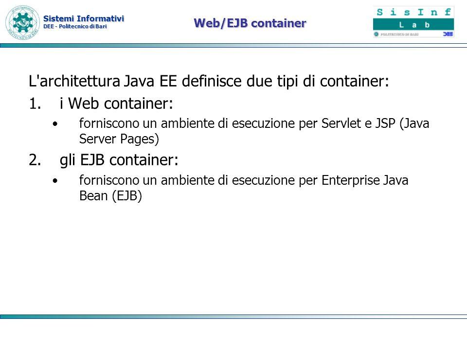 L architettura Java EE definisce due tipi di container: