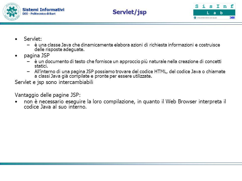 Servlet/jsp Servlet: pagina JSP Servlet e jsp sono intercambiabili