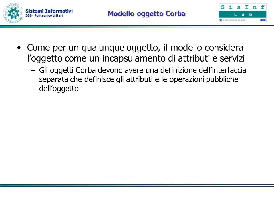 Modello oggetto Corba Come per un qualunque oggetto, il modello considera l'oggetto come un incapsulamento di attributi e servizi.
