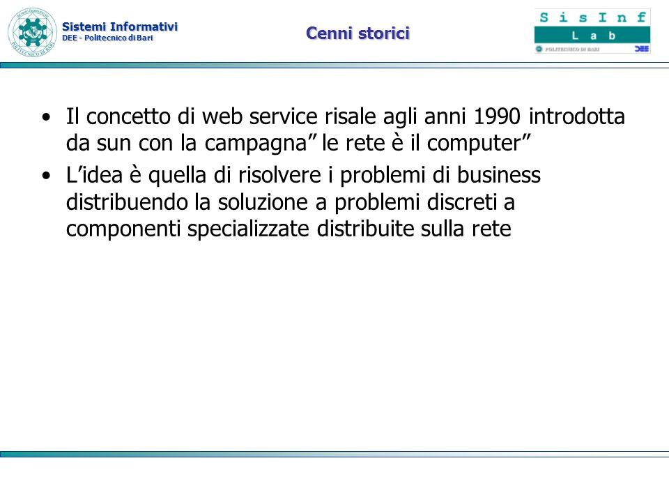 Cenni storici Il concetto di web service risale agli anni 1990 introdotta da sun con la campagna le rete è il computer
