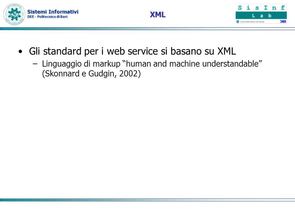 Gli standard per i web service si basano su XML