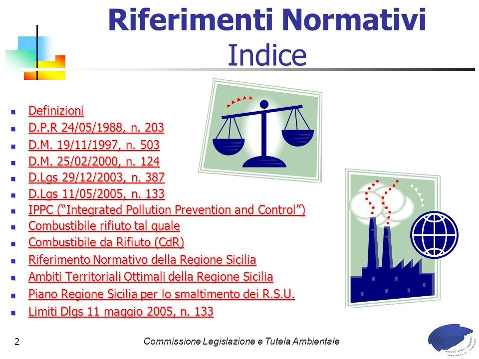Riferimenti Normativi Indice