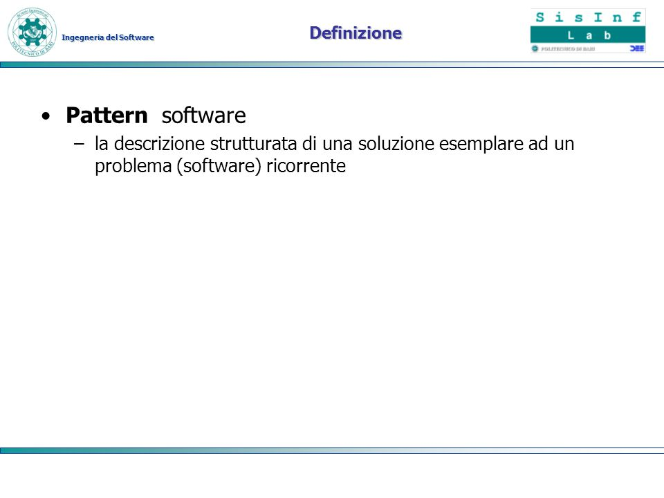 Definizione Pattern software.
