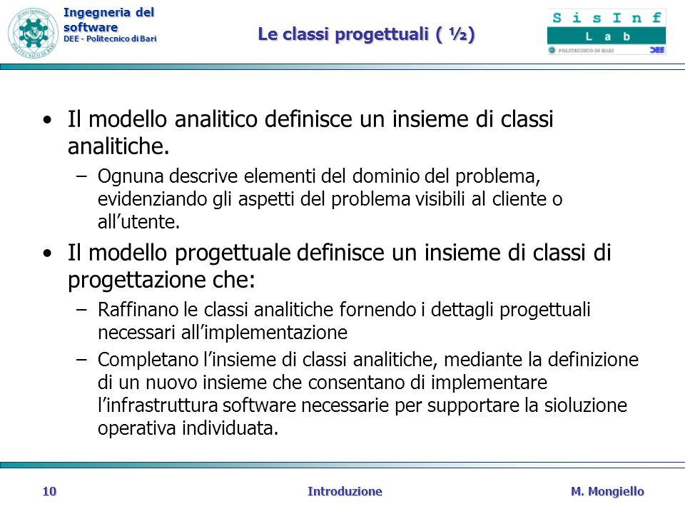 Le classi progettuali ( ½)