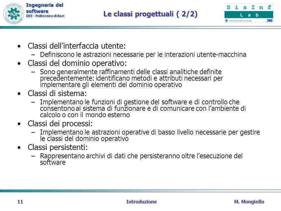 Le classi progettuali ( 2/2)