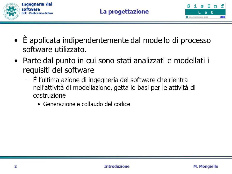 La progettazione È applicata indipendentemente dal modello di processo software utilizzato.