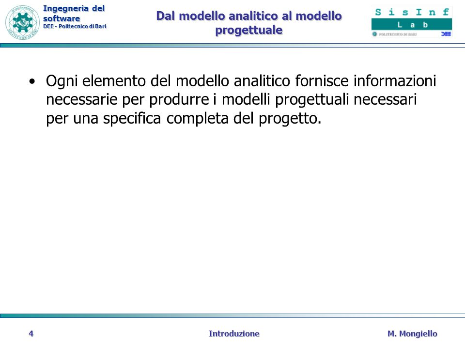 Dal modello analitico al modello progettuale