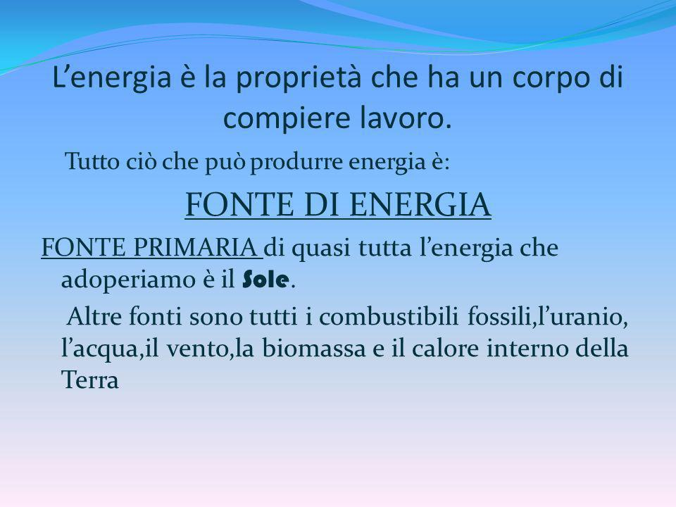 L'energia è la proprietà che ha un corpo di compiere lavoro.
