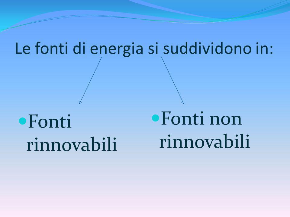 Le fonti di energia si suddividono in: