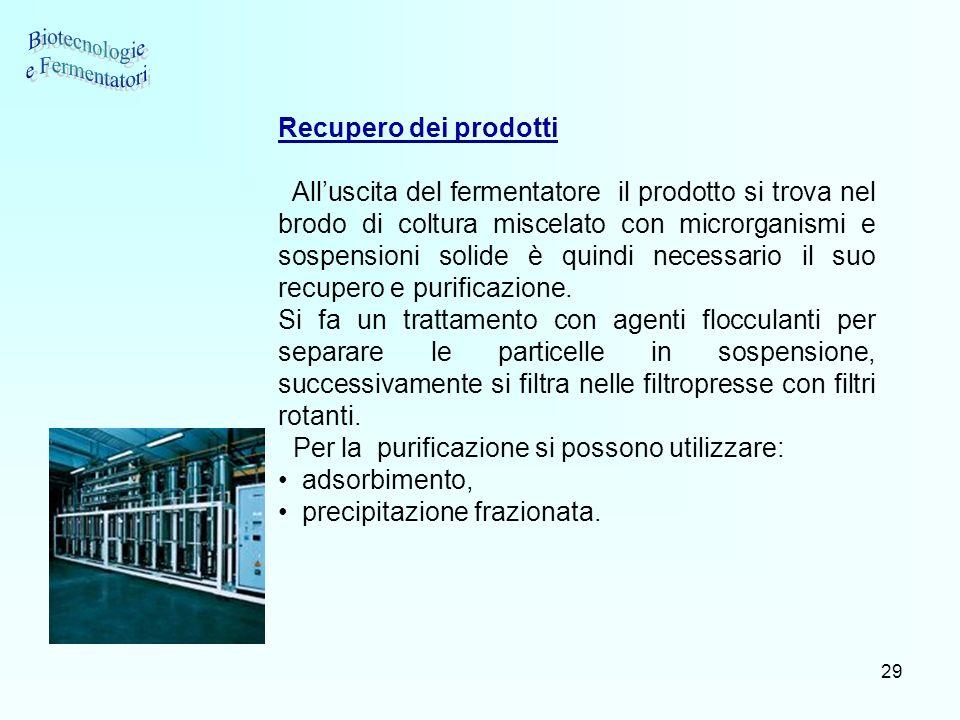 Biotecnologie e Fermentatori Recupero dei prodotti