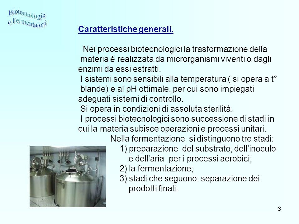 Biotecnologie e Fermentatori Caratteristiche generali.