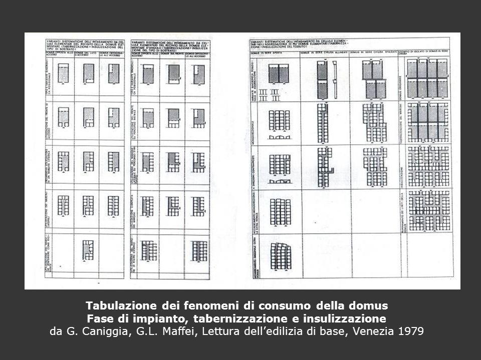Tabulazione dei fenomeni di consumo della domus Fase di impianto, tabernizzazione e insulizzazione da G.