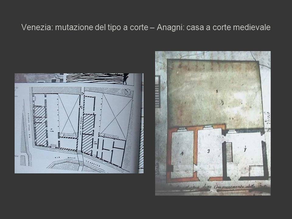 Venezia: mutazione del tipo a corte – Anagni: casa a corte medievale