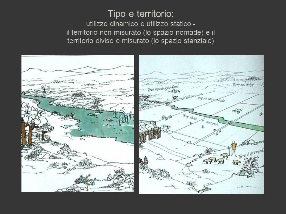Tipo e territorio: utilizzo dinamico e utilizzo statico - il territorio non misurato (lo spazio nomade) e il territorio diviso e misurato (lo spazio stanziale)
