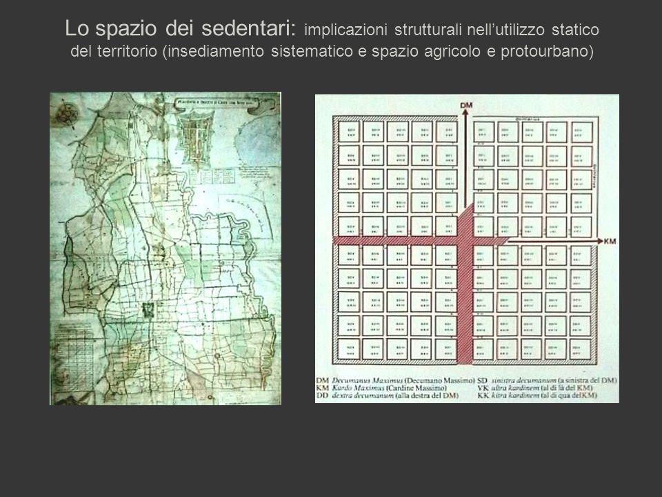 Lo spazio dei sedentari: implicazioni strutturali nell'utilizzo statico del territorio (insediamento sistematico e spazio agricolo e protourbano)